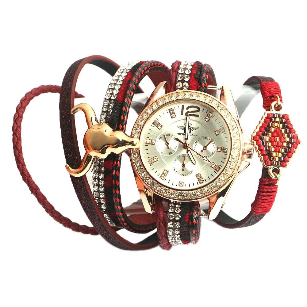 montre fantaisie femme rouge mylta montre bracelet double livr e 48h. Black Bedroom Furniture Sets. Home Design Ideas