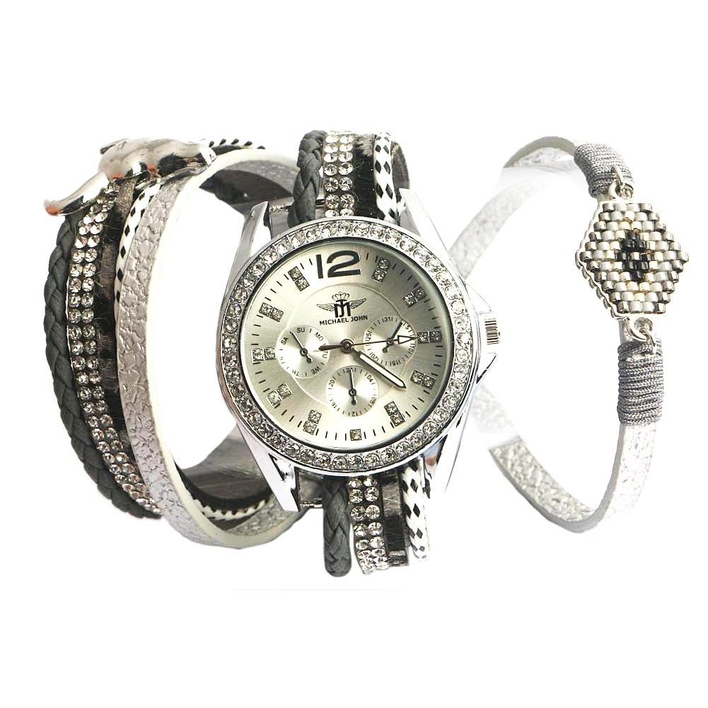 montre fantaisie femme grise montre bracelet double strass livr 48h. Black Bedroom Furniture Sets. Home Design Ideas