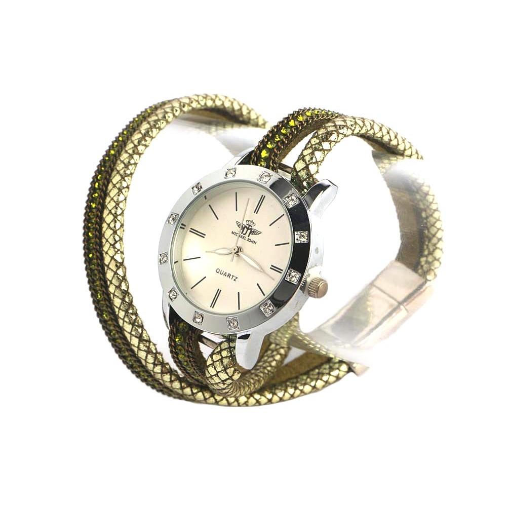 montre bracelet double tour vert et strass montre fantaisie livr 48h. Black Bedroom Furniture Sets. Home Design Ideas
