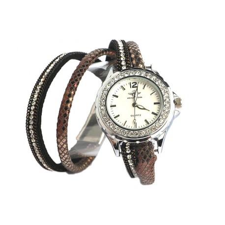 montre fantaisie marron montre bracelet double tour strass livr 48h. Black Bedroom Furniture Sets. Home Design Ideas
