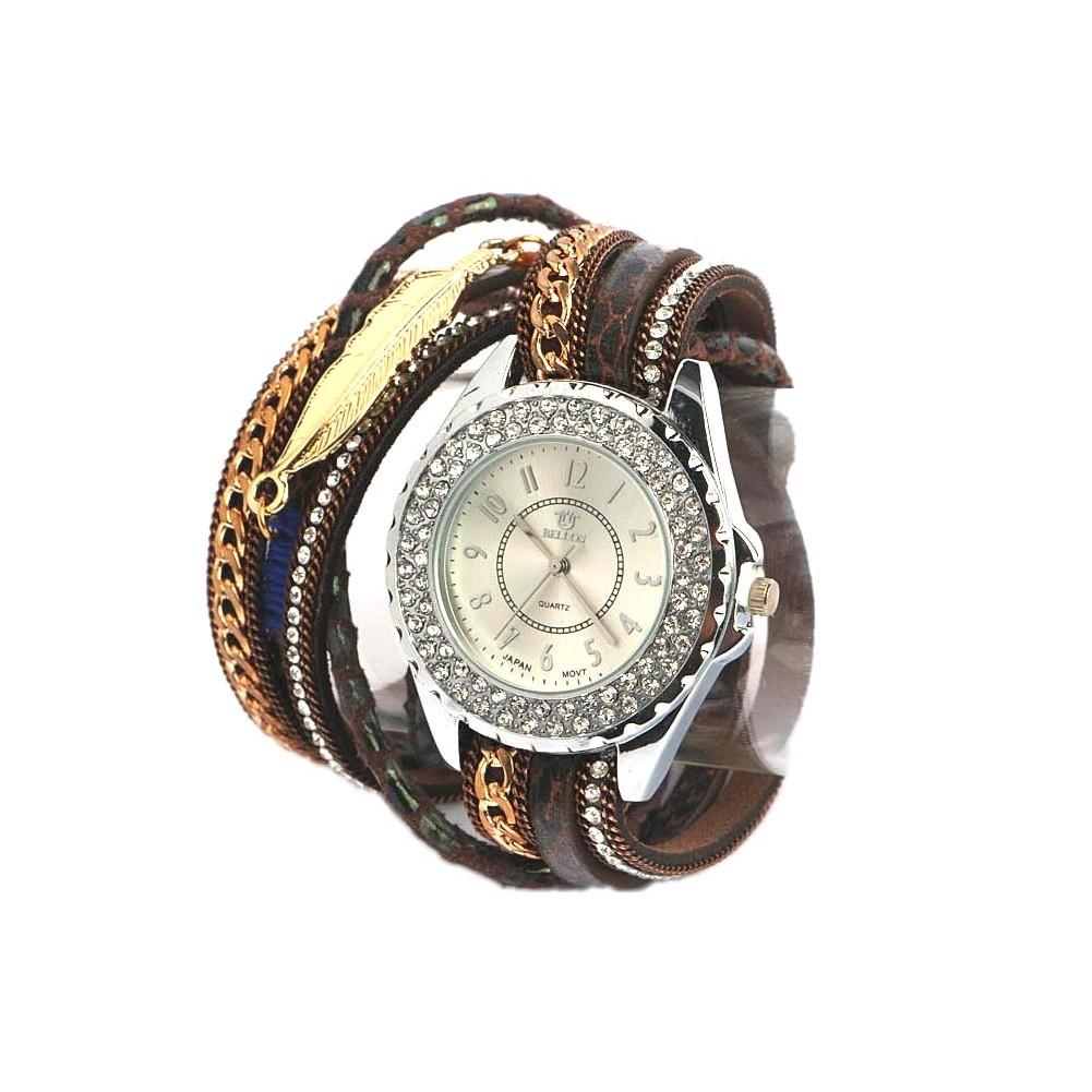 montre bracelet fantaisie marron lorya montre femme classe livr e 48h. Black Bedroom Furniture Sets. Home Design Ideas