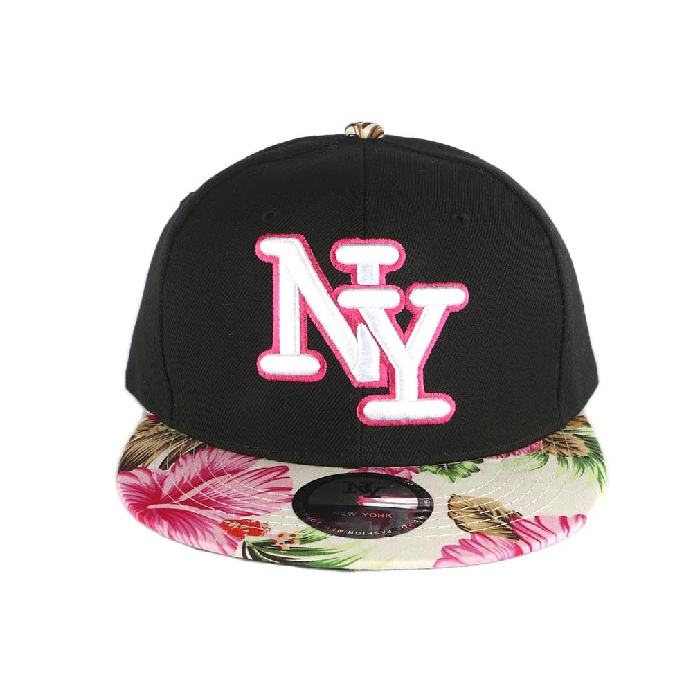 casquette ny noire visiere fleur rose snapback fashion livr 48h. Black Bedroom Furniture Sets. Home Design Ideas