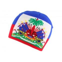 Bonnet Drapeau Haiti Bleu et Rouge BONNETS Nyls Création