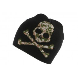 Bonnet Biker noir Pirate camouflage