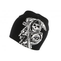 Bonnet biker noir avec Pirate Blanc BONNETS Nyls Création