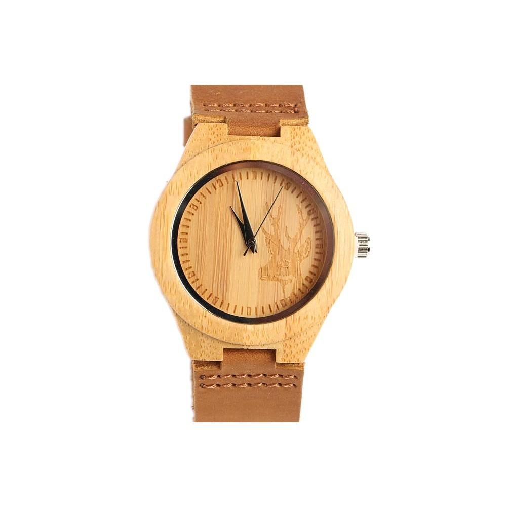 montre en bois t te cerf marron hunty montre bracelet cuir livr 48h. Black Bedroom Furniture Sets. Home Design Ideas