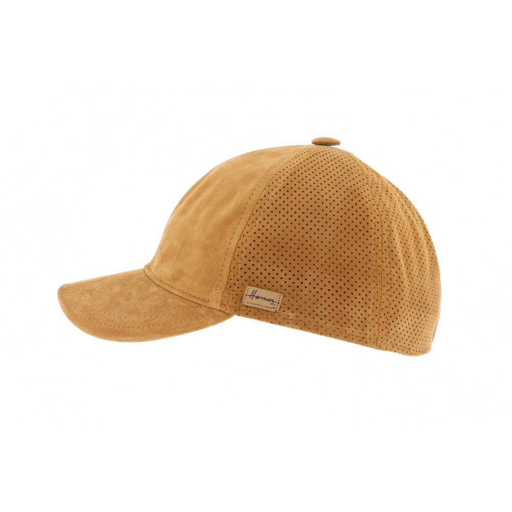 Nouveaux produits c8d05 3bba0 Casquette Baseball cuir Cognac Herman, casquette curve été livré 48h
