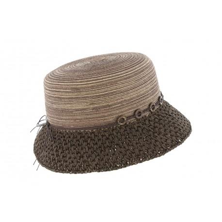 charme de coût le meilleur style populaire Chapeau paille femme marron Claudia, chapeau bob fantaisie livré 48h