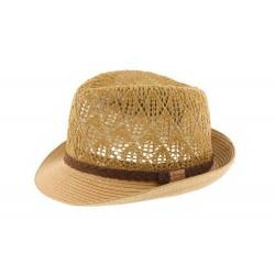 Petit chapeau paille beige ajouré Don Hole