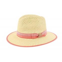 Grand chapeau paille beige et rouge Cordy