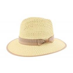 Grand chapeau paille beige et marron Cordy