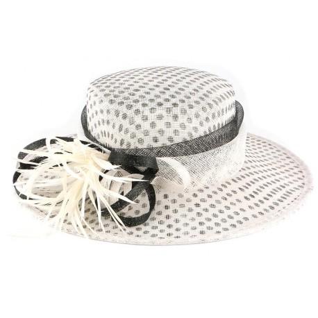 Chapeau mariage blanc pois noir Claridge Chapeau cérémonie Léon montane