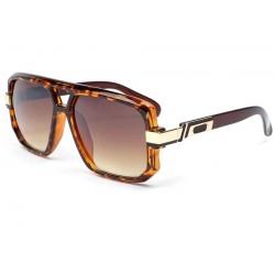 Grosses lunettes soleil marron dore Mak