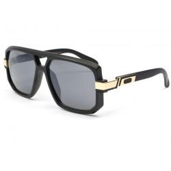 Grosses lunettes soleil Noir dore Mak