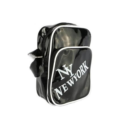 Sacoche NY noir brillant et blanche streetwear