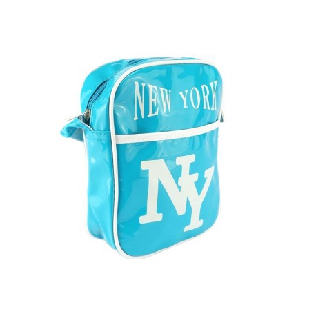 Sacoche NY bleu ciel et blanche streetwear