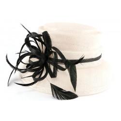Chapeau mariage blanc et noir Atty Chapeau cérémonie Léon montane