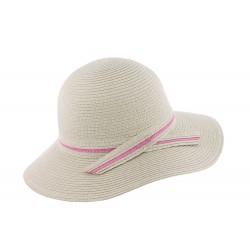 Chapeau de paille femme gris et rose Herman