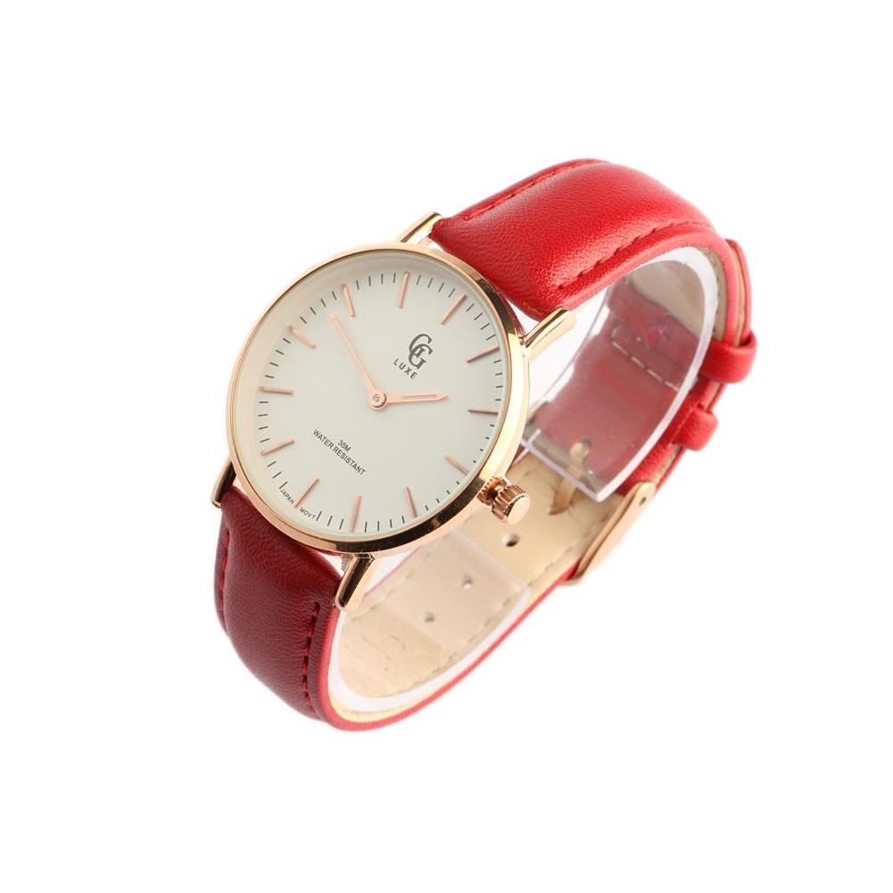 montre femme bracelet rouge nelsy montre cadran dor livr e en 48h. Black Bedroom Furniture Sets. Home Design Ideas