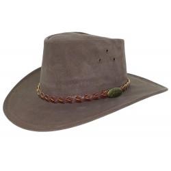 Chapeau cuir marron foncé Wallace Jacaru