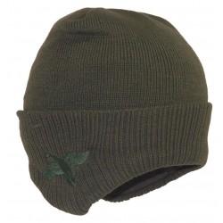 Bonnet Chasse tricot Kaki avec cache oreilles