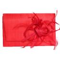 Pochette Cérémonie Falbala Sisal rouge avec fleur rouge