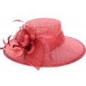 Chapeau cérémonie Aster en sisal rouge