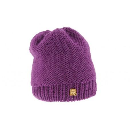 Bonnet Tricot Uni doublé plush Prune