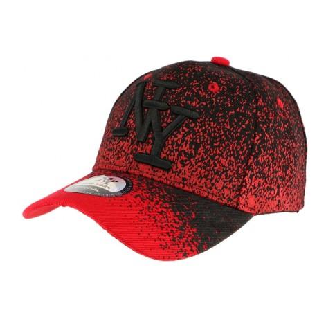Casquette baseball enfant rouge et noir Wave 7 a 12 ans Casquette Enfant Hip Hop Honour