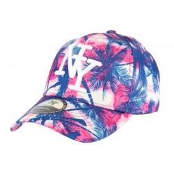 casquette baseball enfant rose et bleu Tropical 7 à 12 ans