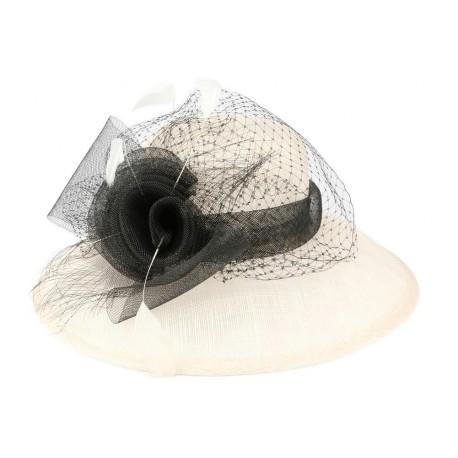 Chapeau mariage écru et noir Fresno en paille sisal Chapeau cérémonie Léon montane