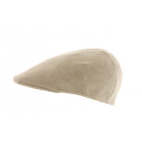 Casquette plate Herman en tweed Beige