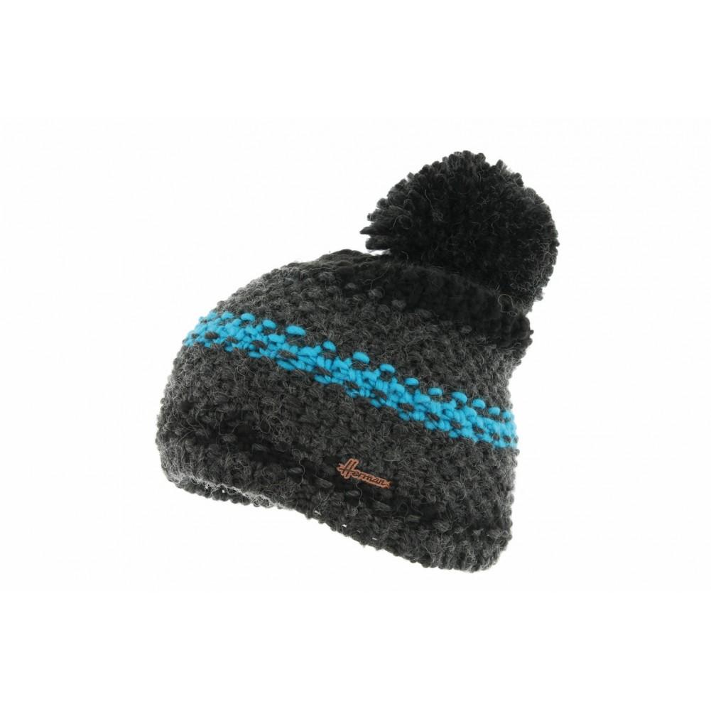 bonnet pompon noir et bleu bonnet laine doubl soie mode livr en 48h. Black Bedroom Furniture Sets. Home Design Ideas