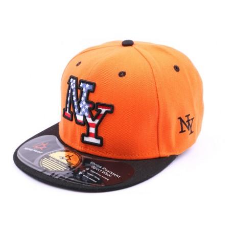 Snapback NY Orange visière Noire CASQUETTES Hip Hop Honour