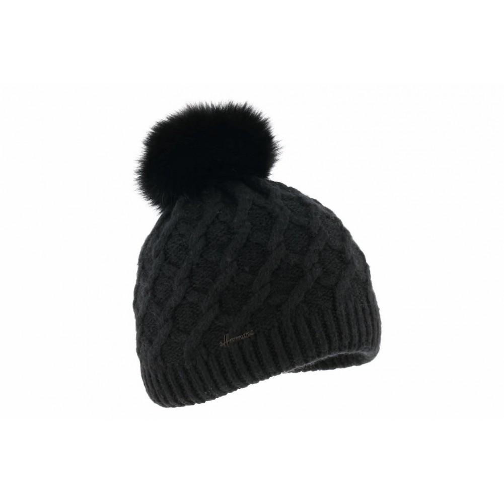 bonnet pompon fourrure louise bonnet noir femme mode livr 48h. Black Bedroom Furniture Sets. Home Design Ideas