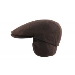 Casquette cache oreille marron laine Herman