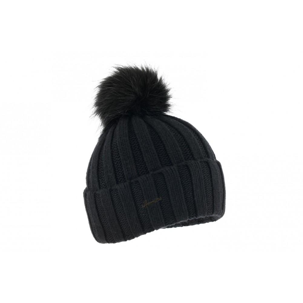 bonnet pompon noir achat bonnet femme. Black Bedroom Furniture Sets. Home Design Ideas