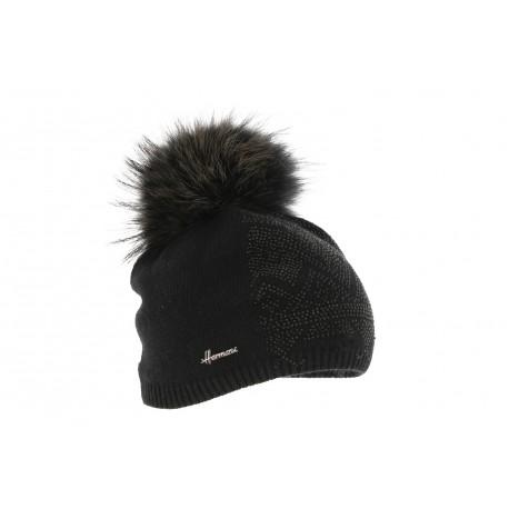 b4dc598222 Bonnet Pompon Fourrure Noir, bonnet femme avec strass chic livré 48h!