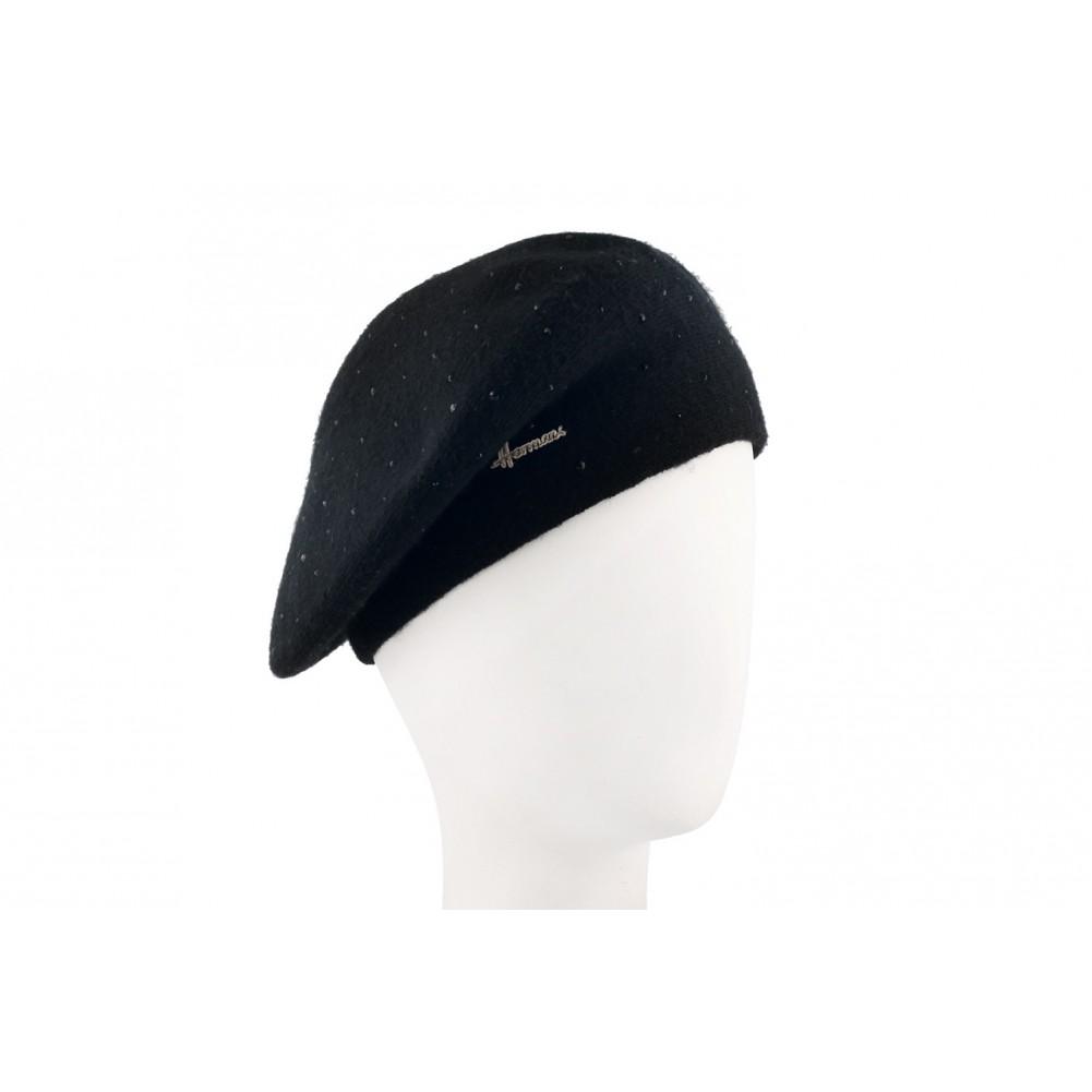 beret femme noir avec strass beret hiver fantaisie livr 48h. Black Bedroom Furniture Sets. Home Design Ideas