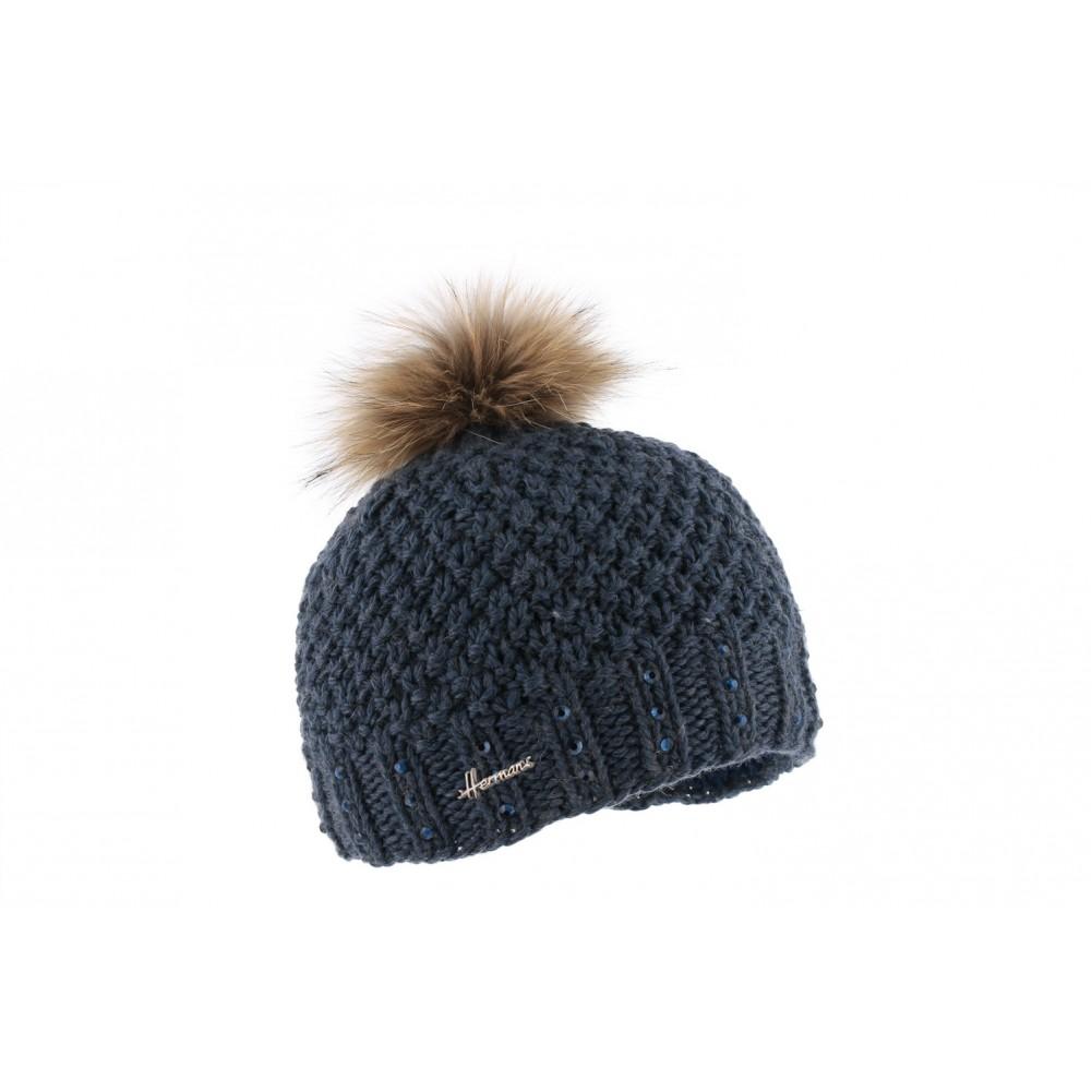bonnet pompon bleu marine bonnet femme laine et strass livraison 48h. Black Bedroom Furniture Sets. Home Design Ideas