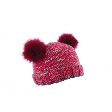 d8bf40cbdd317 Bonnet pompon enfant rose, bonnet fille en laine fantaisie livré 48h!