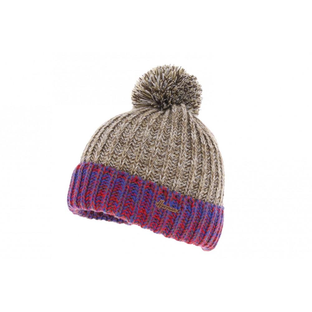 bonnet pompon marron bleu solin herman bonnet revers mode. Black Bedroom Furniture Sets. Home Design Ideas