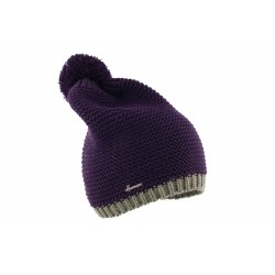 Bonnet pompon long violet Watin Herman