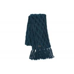 Echarpe bleue en laine torsades et franges Herman
