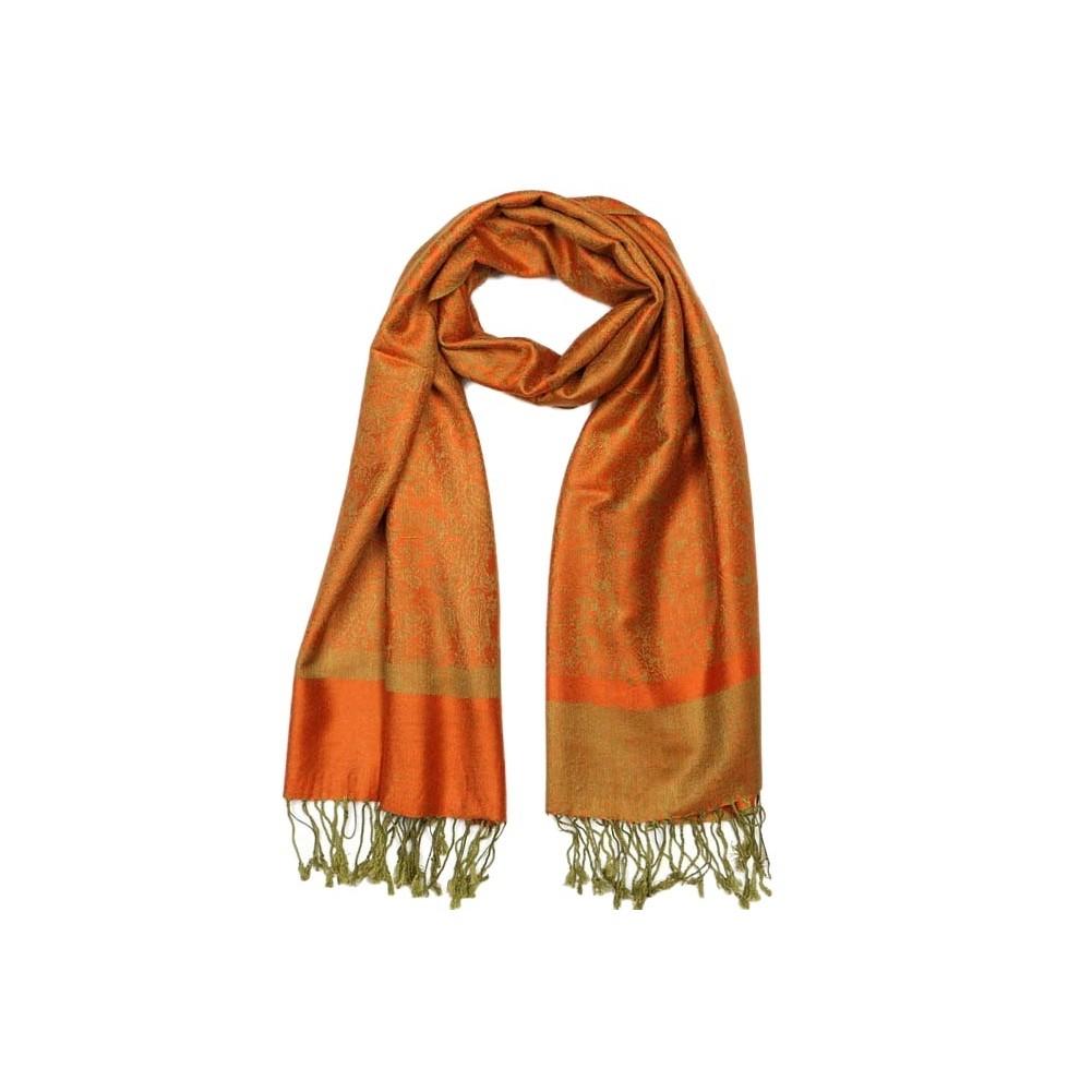 echarpe pashmina orange et verte delhi pashmina pas cher. Black Bedroom Furniture Sets. Home Design Ideas