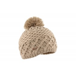 Bonnet pompon beige double polaire Loisin Herman