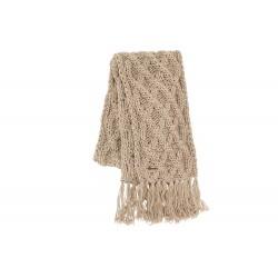 Echarpe Beige en laine torsades et franges Herman
