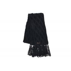 Echarpe Noire en laine torsades et franges Herman