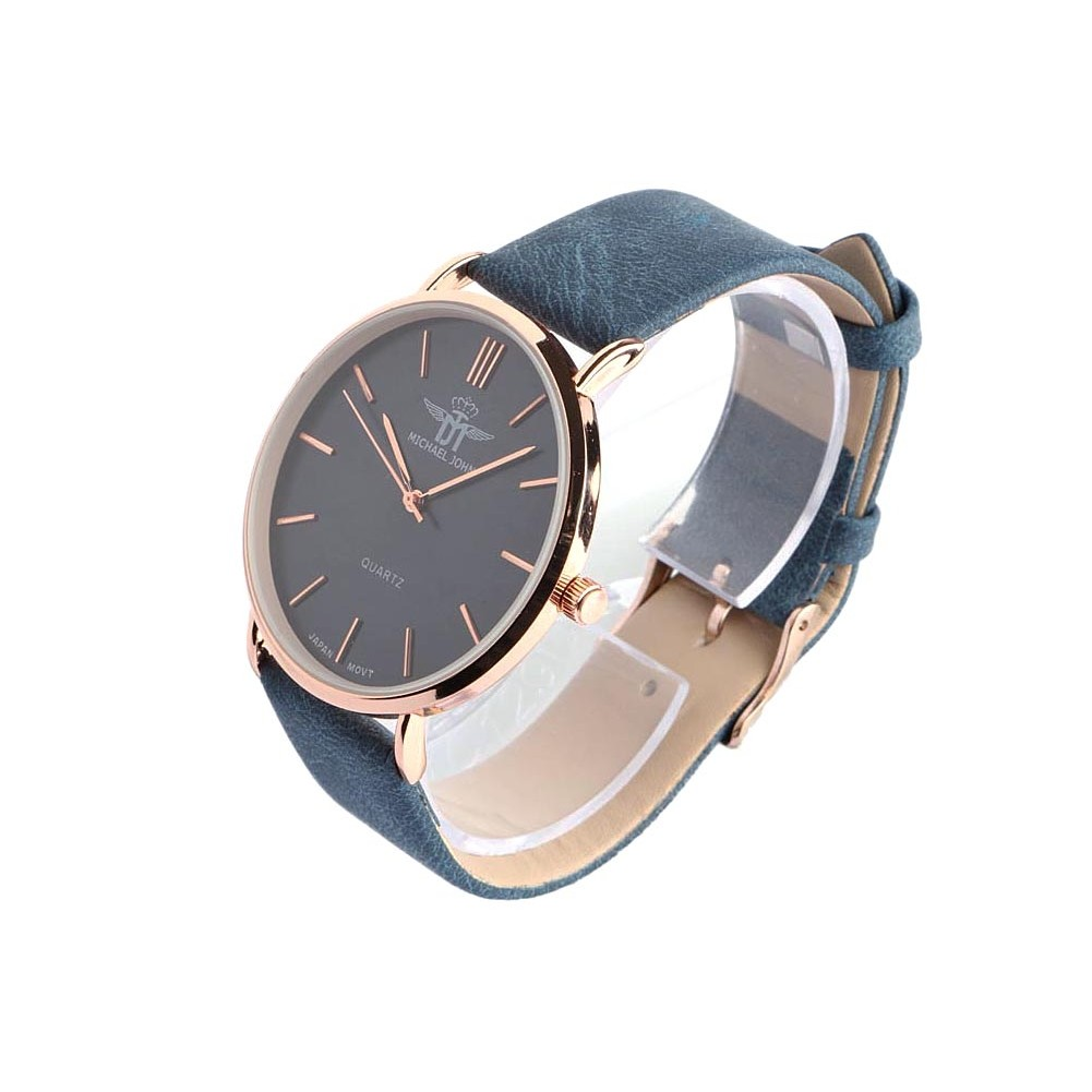 montre femme bleu et dor lysa montre bracelet daim classe livr 48h. Black Bedroom Furniture Sets. Home Design Ideas