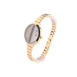 Bracelet montre femme or rose jaune et strass Sola